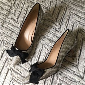 J Crew Silver Woven kitten Heels with Bows 9